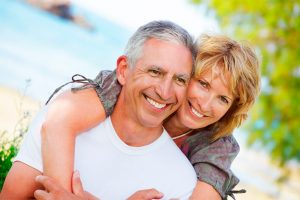 Senior Couple denture clinic partial implants
